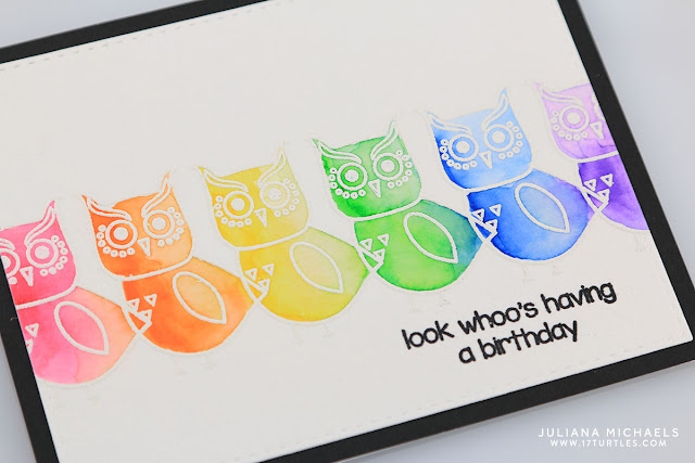 Happy Birthday Card by Juliana Michaels featuring Mint Owl Studio Outrageous Owls Stamps and Zig Clean Color Real Brush Markers