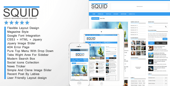 Download Squid  v 1.1 Clean Responsive Blogger Template