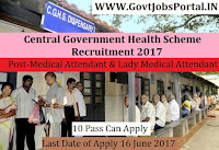 Central Government Health Scheme Recruitment 2017– Medical Attendant & Lady Medical Attendant
