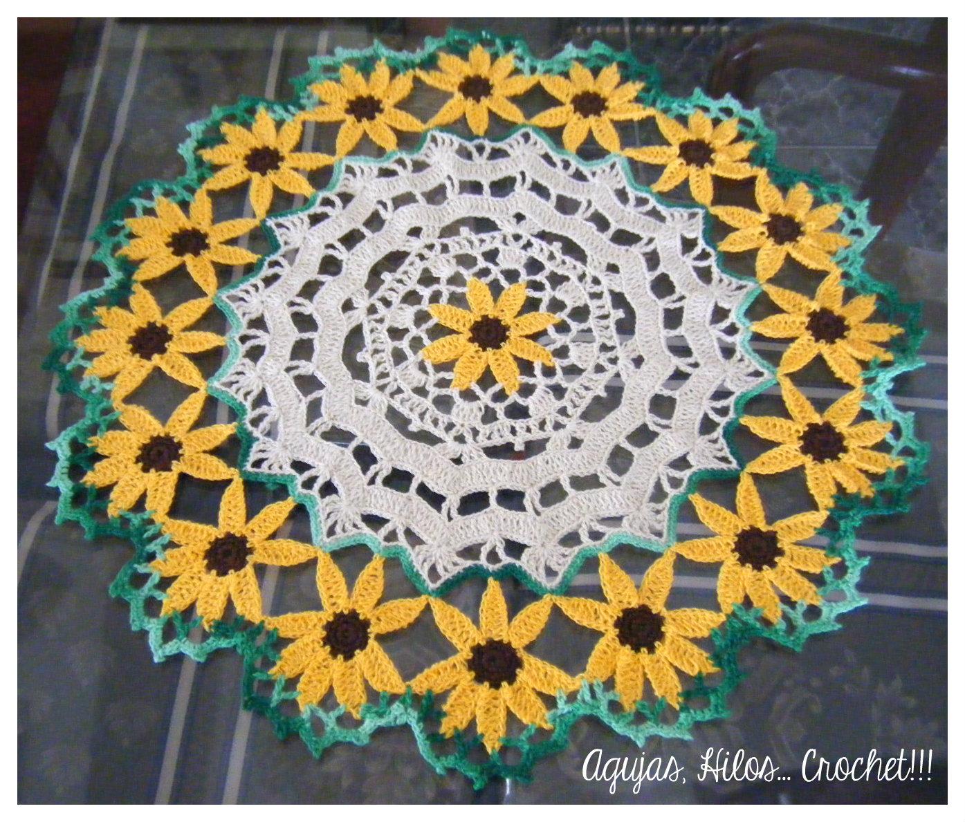 Tapete girasoles - Sunflower Doily - Agujas, Hilos... Crochet!!!