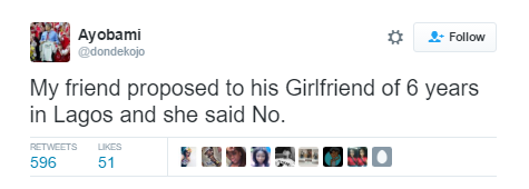 Nigerian man reportedly proposed to his girlfriend of six years & she turned him down
