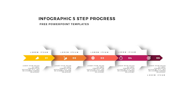 Infographic 5 Step Progress Arrow Diagrams for PowerPoint Template Slide 9