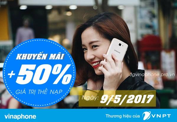 Vinaphone khuyến mãi 50% thẻ nạp ngày vàng 9/5/2017