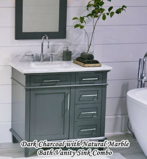 Dark Charcoal with Natural Marble Home Depot Bathroom Vanity Sink Combo  HomeTiens