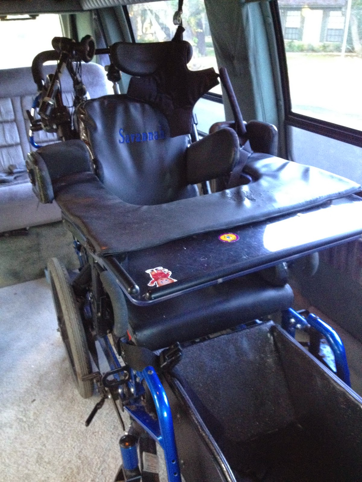 Savannah's empty wheelchair goes with us to the Prom in her van.