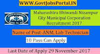 Maharashtra Bhiwandi Nizampur City Municipal Corporation Recruitment 2017– 77 ANM, Lab Technician