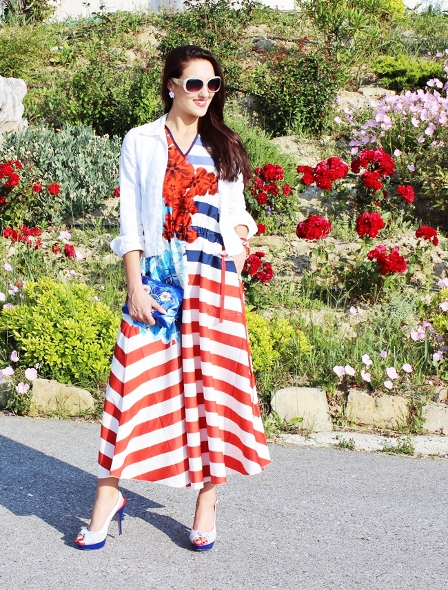 white dress with blue and red stripes and floral print