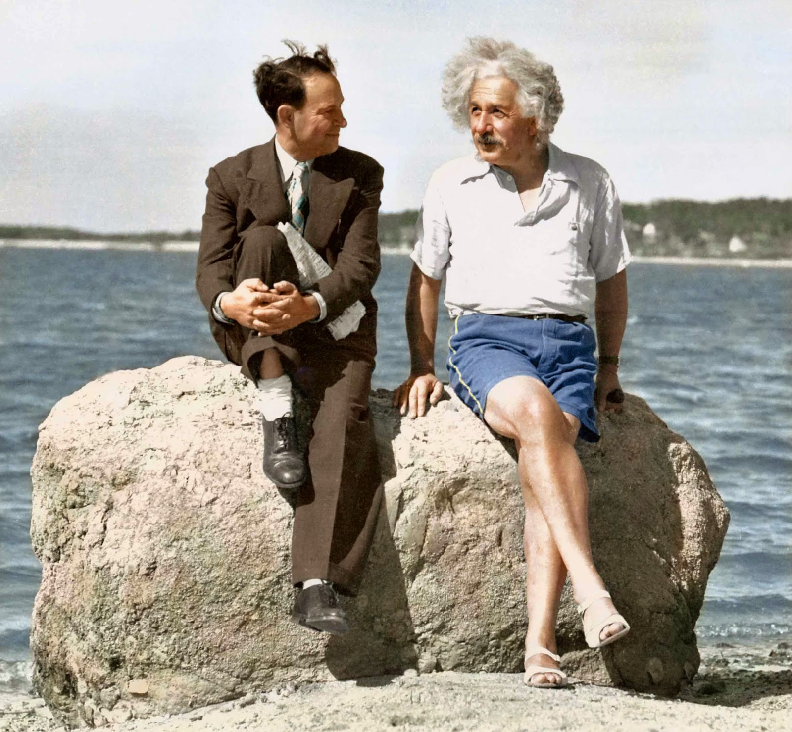 David Rothman was in his work clothes and Albert Einstein was dressed for the beach when they posed on this rock at Horseshoe Cove in Nassau Point in the summer of 1939.