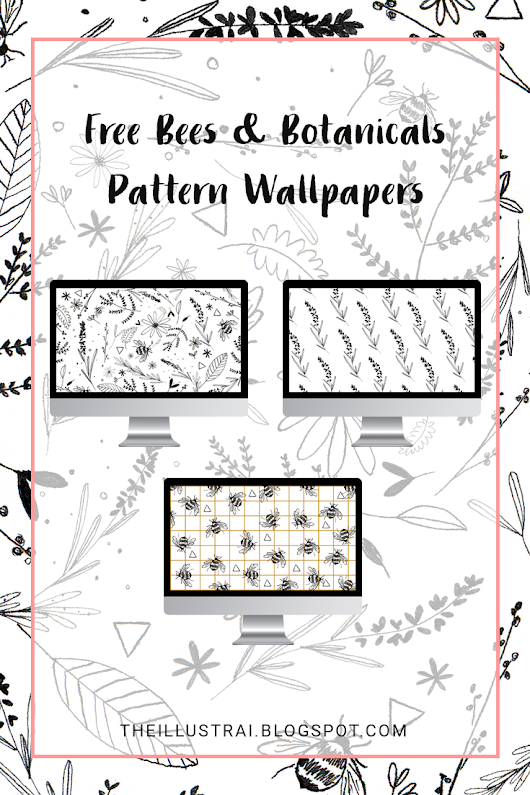 The Illustrai: Free Bees & Botanicals Pattern Wallpapers