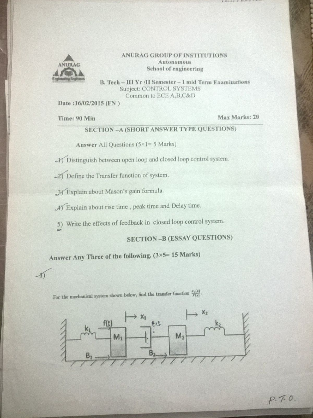Super Batch ECE: 3-2 Previous year Mid - term Question Papers