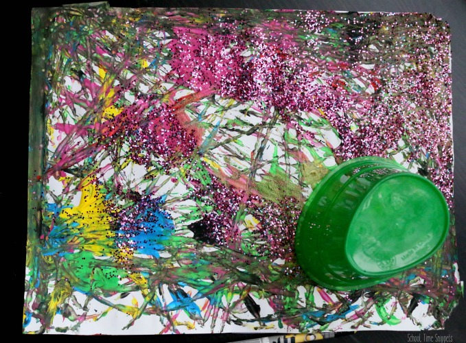 painted paper using marbles