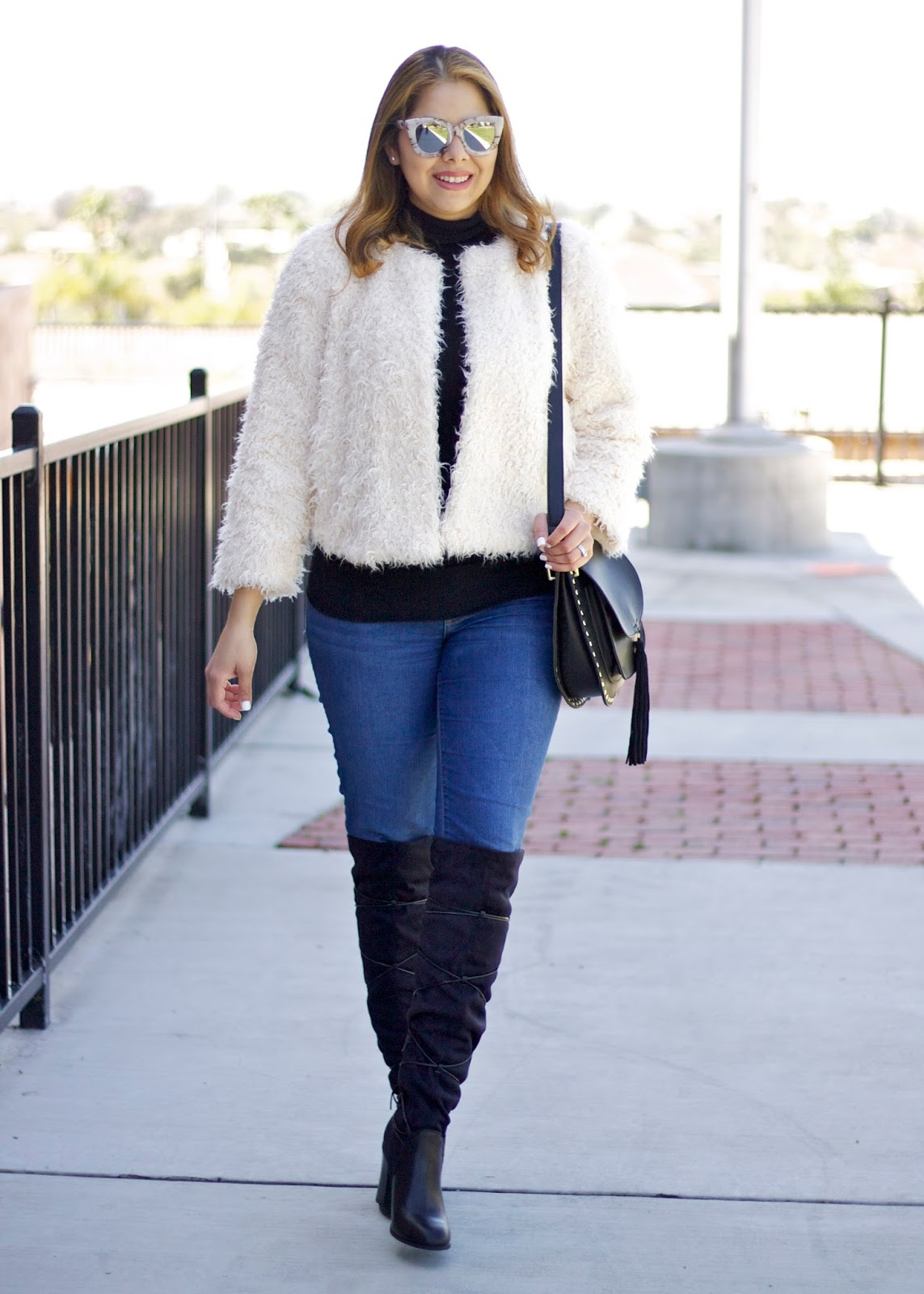 San Diego Fashion Blogger, how to wear a fuzzy jacket, over the knee outfit, San Diego Style Blogger