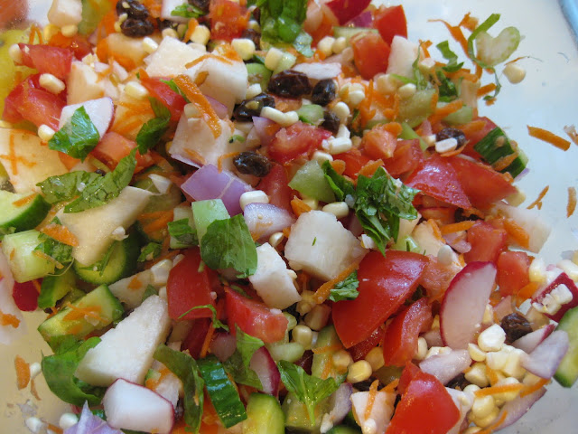 salad with jicama , mint, cucumber, corn, beans