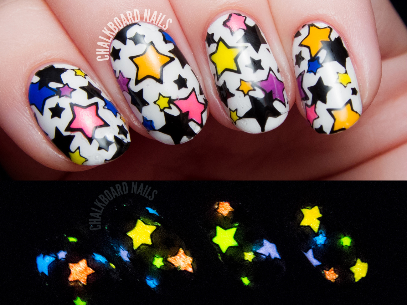 Glow in the Dark Reverse Stamping by @chalkboardnails