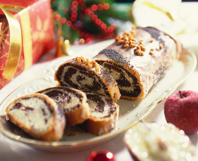 Muffins with marzipan, red cranberries, and crocanti