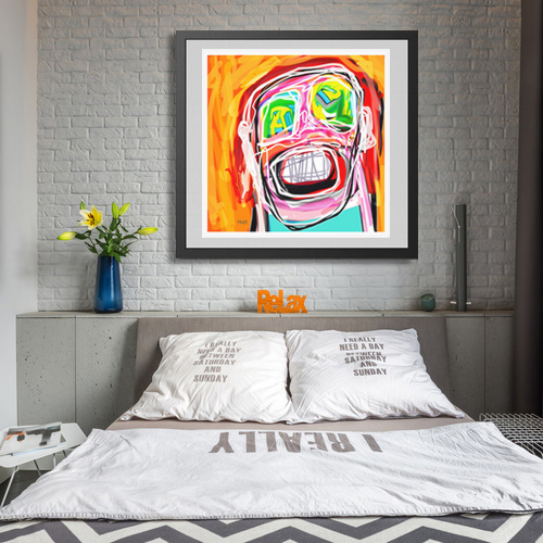 art print, portrait art print, abstract portrait, digital painting, buy art prints, original art prints, gallery, artist, artwork, orange art print, contemporary art print, Sam Freek,