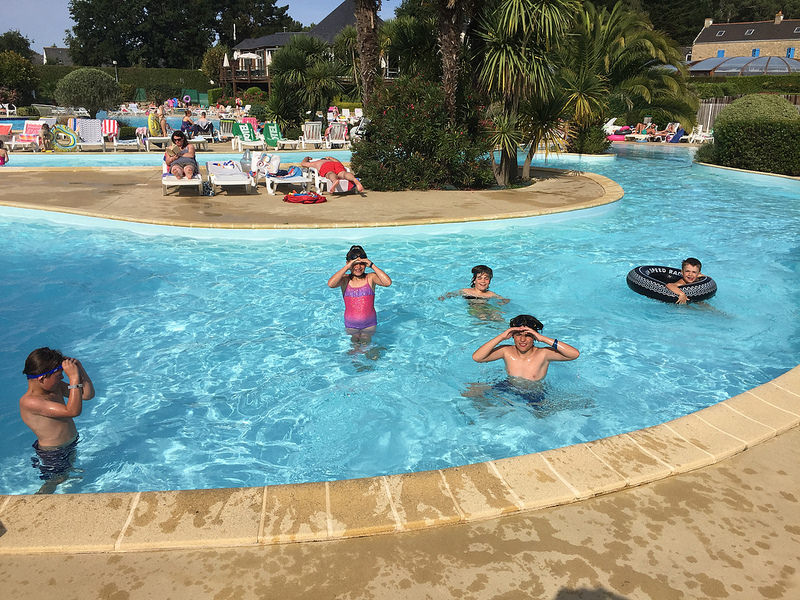 Kids in the lazy river at Eurocamp