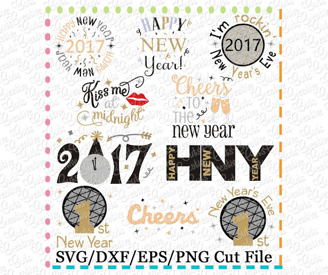 free silhouette studio design file set, free silhouette designs, new years eve crafts 2017