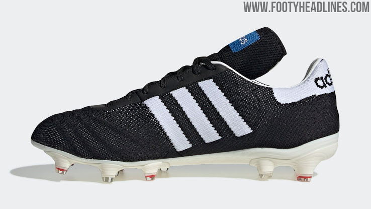 Copa Mundial  is written in gold next to the 3 stripes and a blue box with  the  adidas  writing in its center sits on the tongue aba072b684578