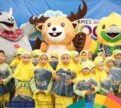 anak-anak dan maskot asian games 2018
