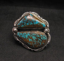 Perisan Turquoise Navajo Native American Silver Ring by Dean Sandoval