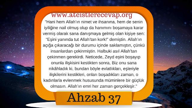 Ahzab 37 Peygamberimiz evlatlığının eşi ile neden evlendi?