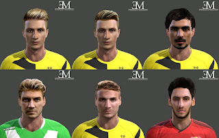 Faces: Bendtner, Calhanoglu, Hummels, Immobile, Reus, Pes 2013
