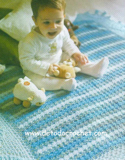 patrones de mantilla bebe ganchillo
