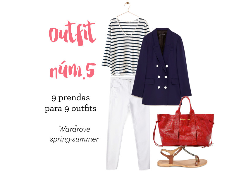 como combinar un pantalon blanco bolso piel rojo chaqueta doble botonadura