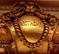 The name of Beethoven engraved over the proscenium at Symphony Hall in Boston.