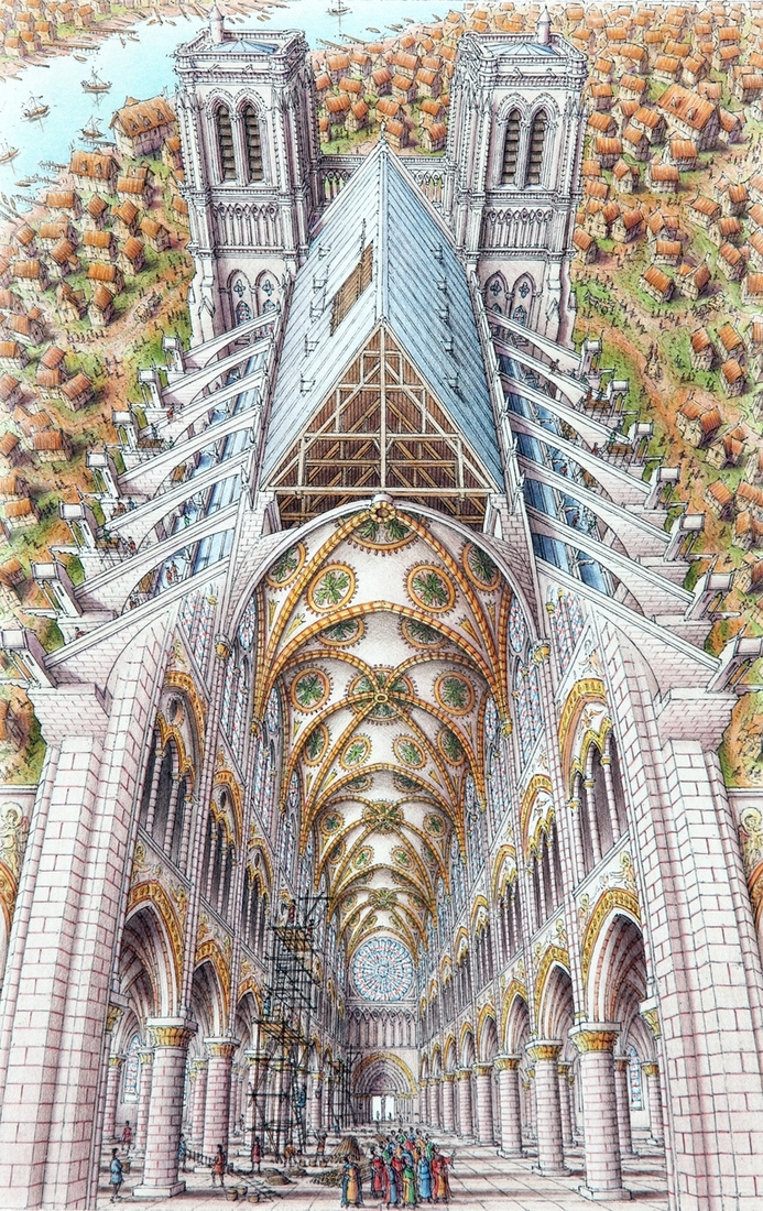 03-Notre-Dame-Cathedral-Paris-Stephen-Biesty-Historical-Architectural-Buildings-Inside-out-Drawings-www-designstack-co