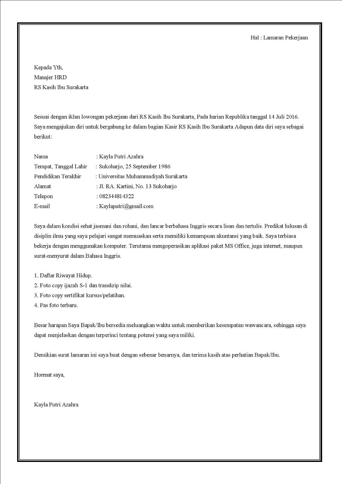 Contoh surat lamaran kerja di rumah sakit bagian kasir