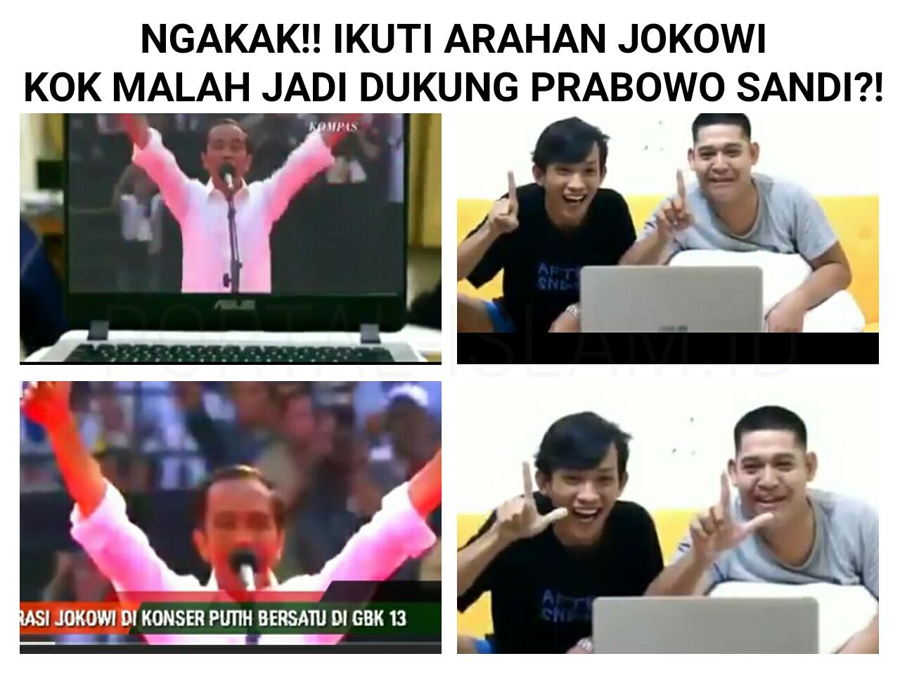 Id sebuah video singkat berisi dua pemuda yang menyaksikan orasi calon presiden petahana joko widodo dalam acara konser putih bersatu di gelora bung karno