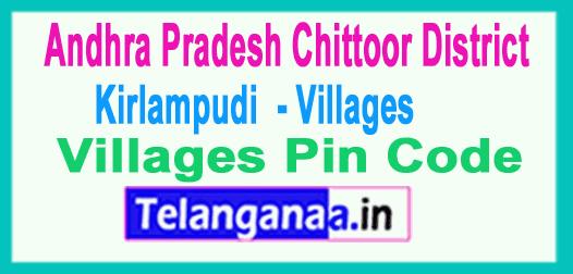 East Godavari District Kirlampudi  Mandal and Villages Pin Codes in Andhra Pradesh