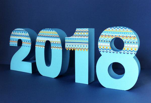 2018 3D Paper Numerals