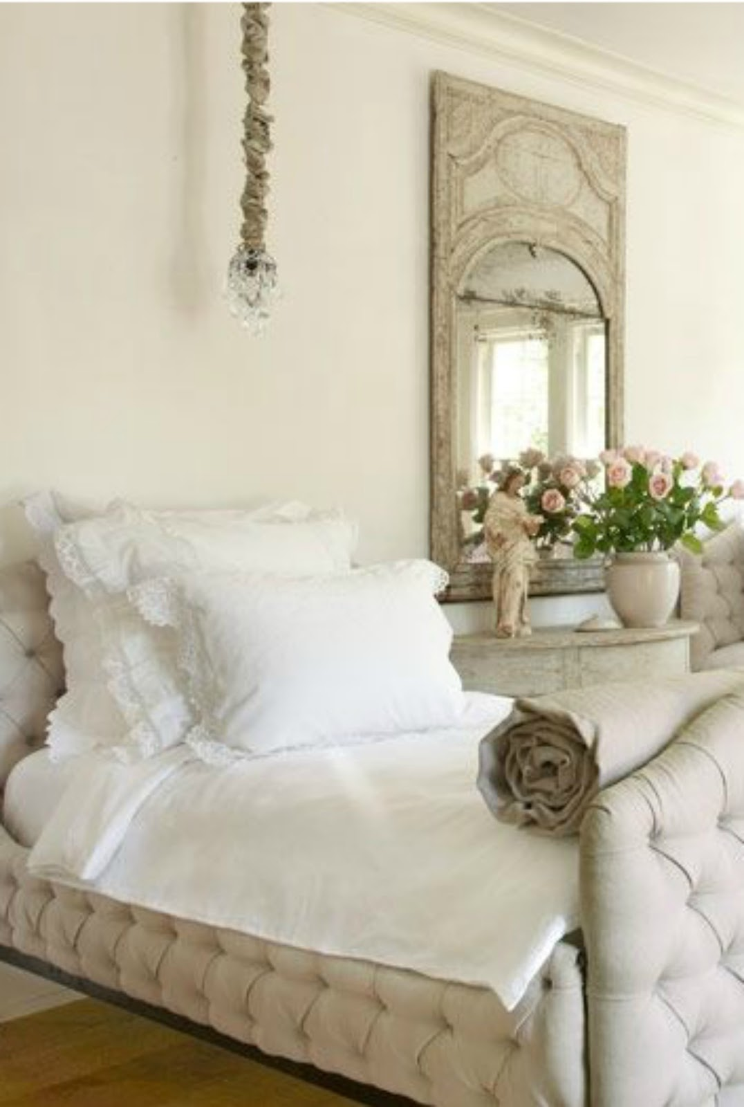 French Country bedroom decor with tufted linen upholstered beds. Pamela Pierce's gorgeous home with sophisticated French Country decor and European farmhouse charm on Hello Lovely Studio