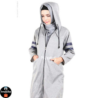 Jaket Muslimah Hijacket Beautix Sky Grey PREMIUM FLEECE Original SPORTY