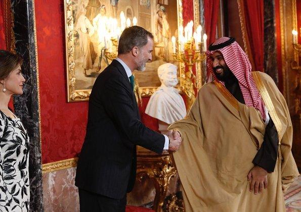 Crown Prince Muhammed bin Salman of Saudi Arabia in Spain. Queen Letizia wore Felipe Varela dress and wearing Tous Jewelry earrings, Magrit pumps