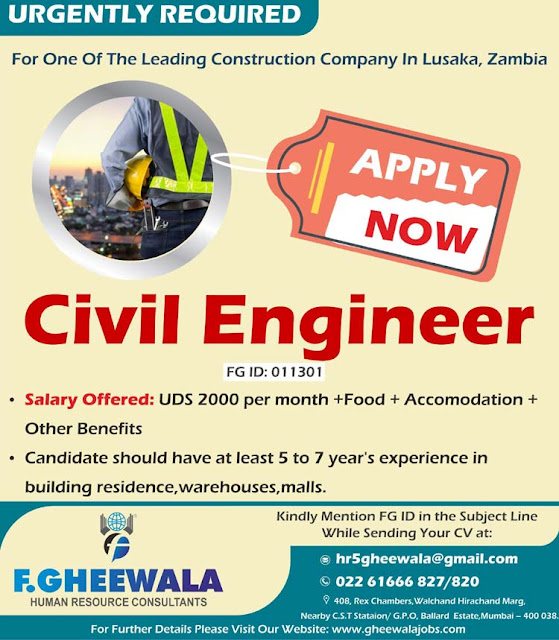 ZAMBIA JOBS : Indian Civil Engineer Wanted for Lusaka | F.Gheewala HR Consultants