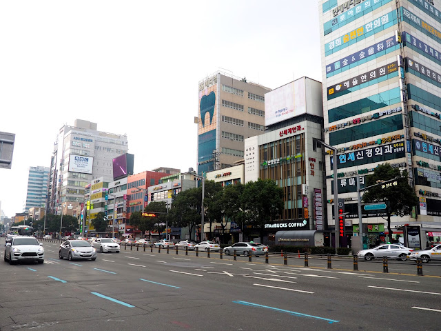 Wide main road through Seomyeon, Busan, South Korea