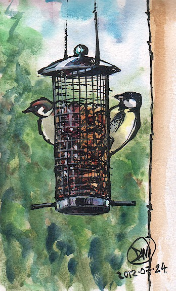 A bird feeder  sketch by David Meldrum