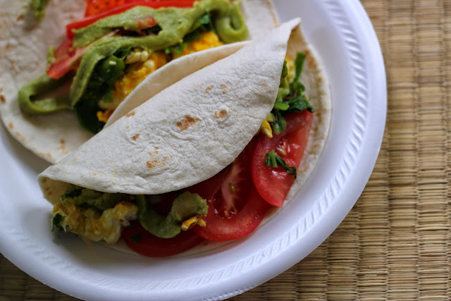 Jump-start your day with this delicious egg and kale breakfast soft taco. It's packed with vitamins and protein!