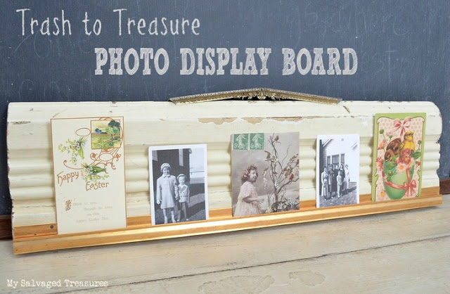 turn old molding and weather stripping into a unique picture holder