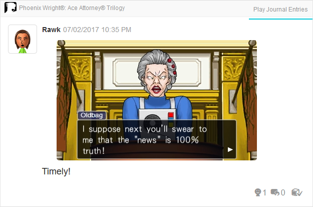 Phoenix Wright Ace Attorney Justice For All Wedy Oldbag fake news is not truth