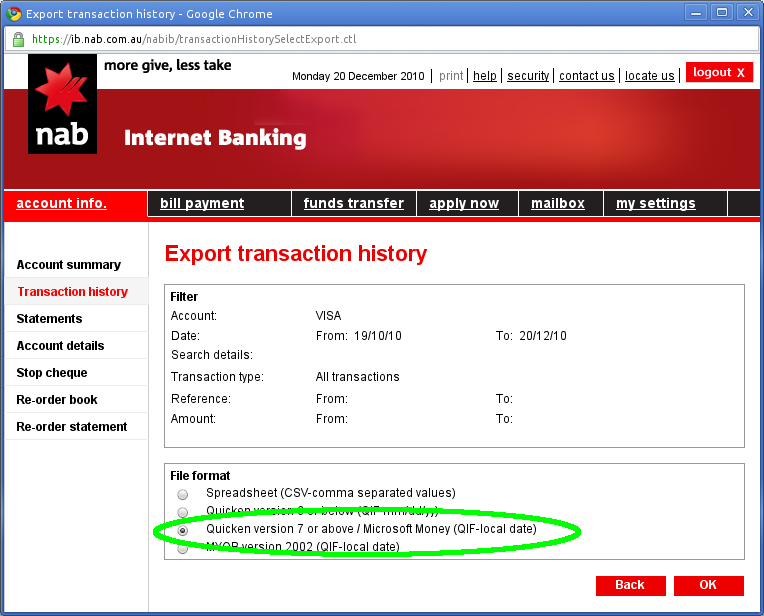 national australia bank account format