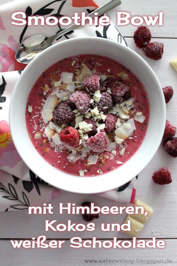 Smoothie Bowl mit Himbeeren und Kokos www.eatsewsleep.blogspot.de