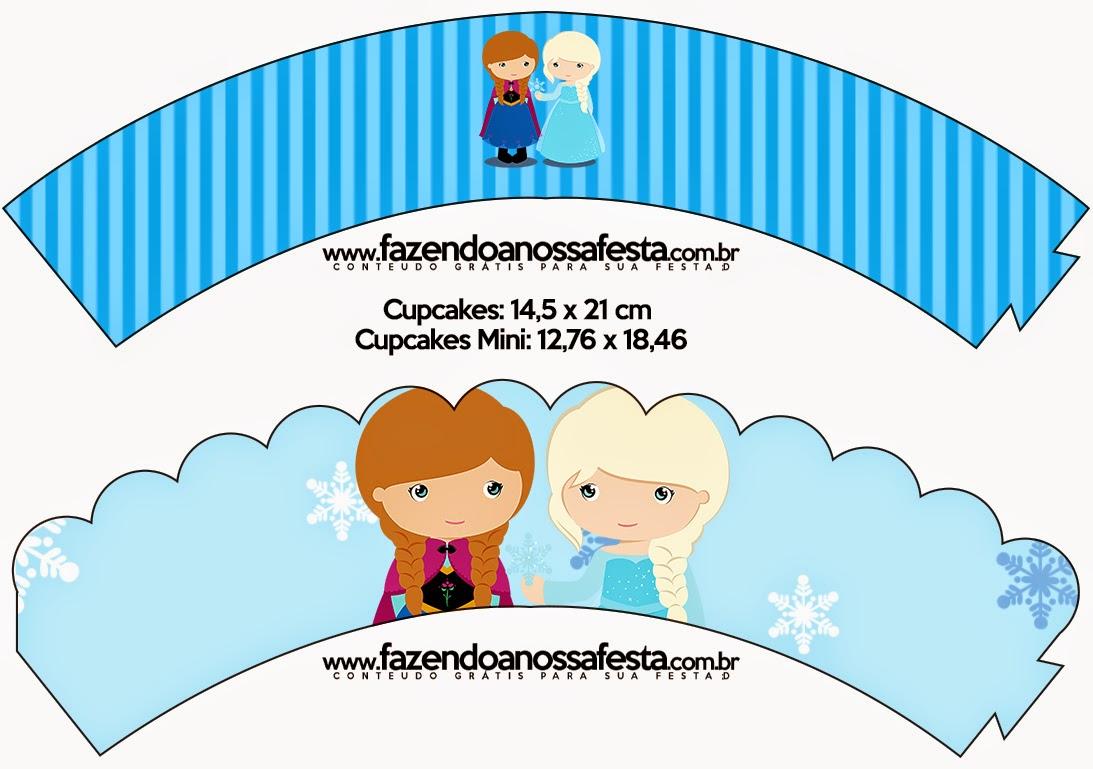 Wrappers para Cupcake de Frozen Niñas para Navidad Azul.