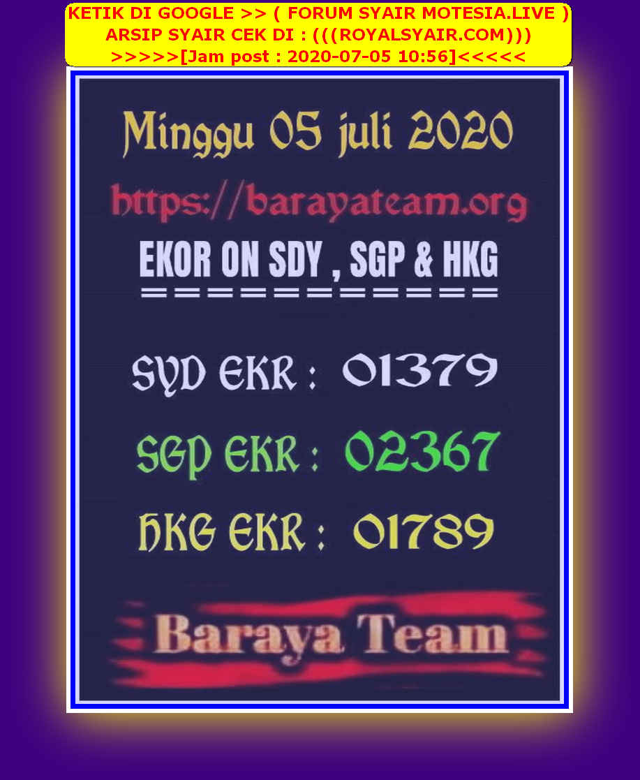 Kode syair Singapore Minggu 5 Juli 2020 70