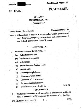 Punjabi University 403-Income Tax 2015 Question Paper