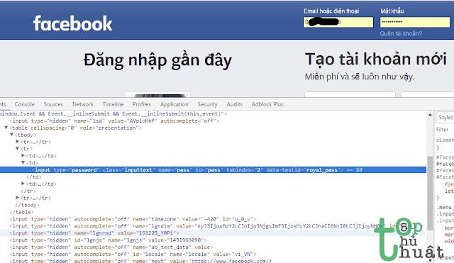 Hiện mật khẩu Facebook đã lưu